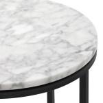 40cm White Serena Round Italian Carrara Marble Side Table Sweet Pea Interiors