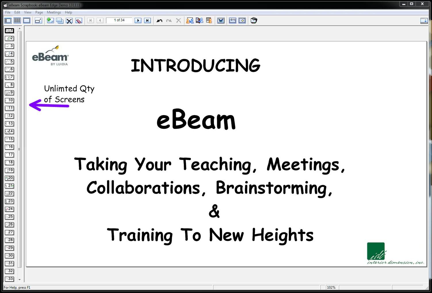 eBeam Scrapbooks showing unlimited screens
