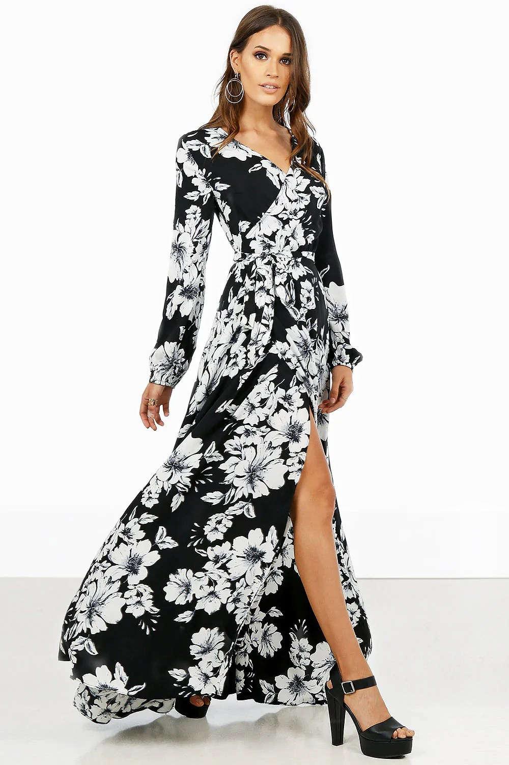 Long Sleeve Black And White Floral Dress