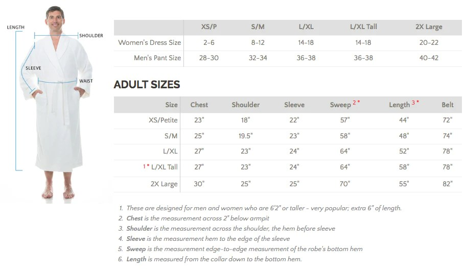 Men   bathrobe size chart also comfyrobes rh