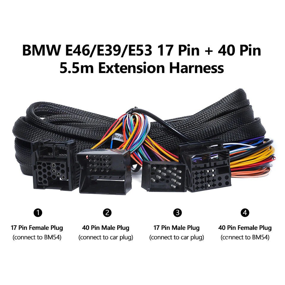 hight resolution of a0582 bmw e46 e39 e53 extended wiring harness 17pin 40pin for ga9150b ga9201b