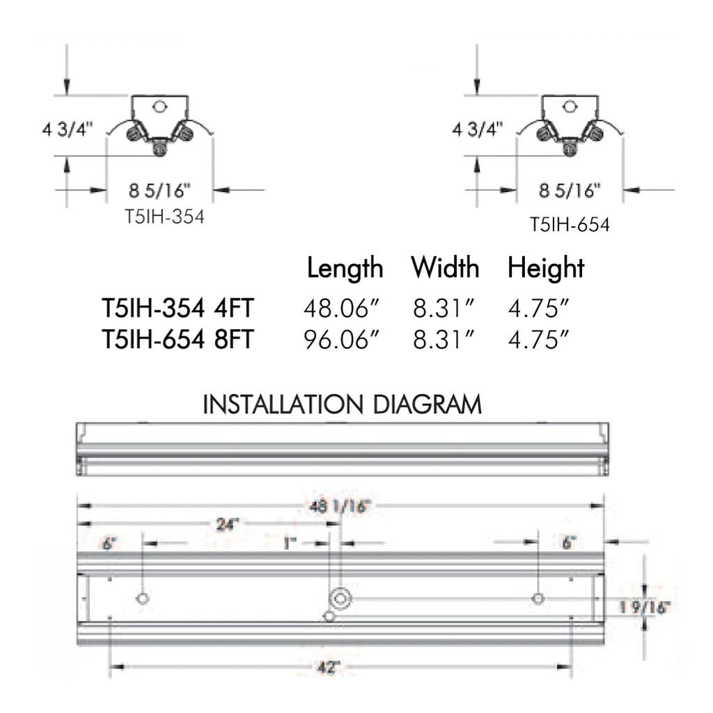 medium resolution of t5ho fluorescent t5ih 3 6 lamp 4 8 foot high bay fixture