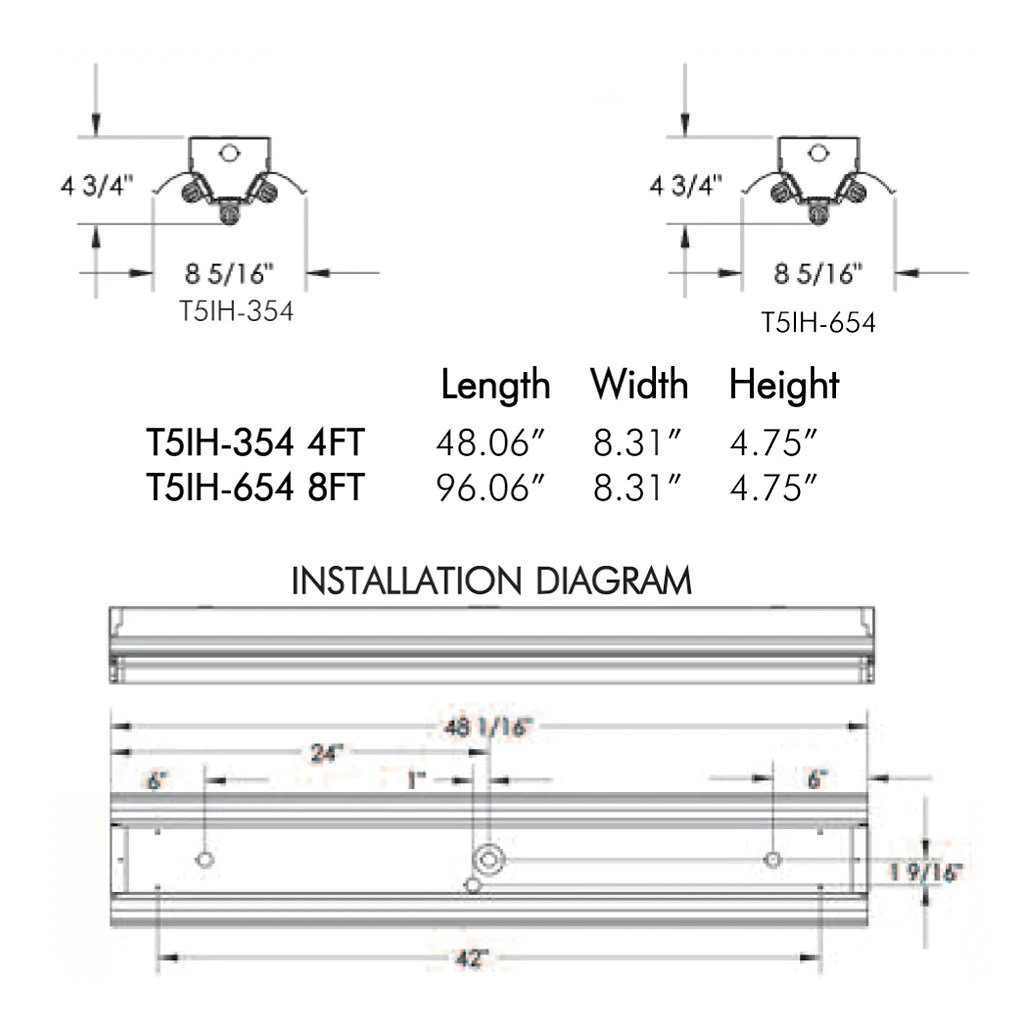 hight resolution of t5ho fluorescent t5ih 3 6 lamp 4 8 foot high bay fixture