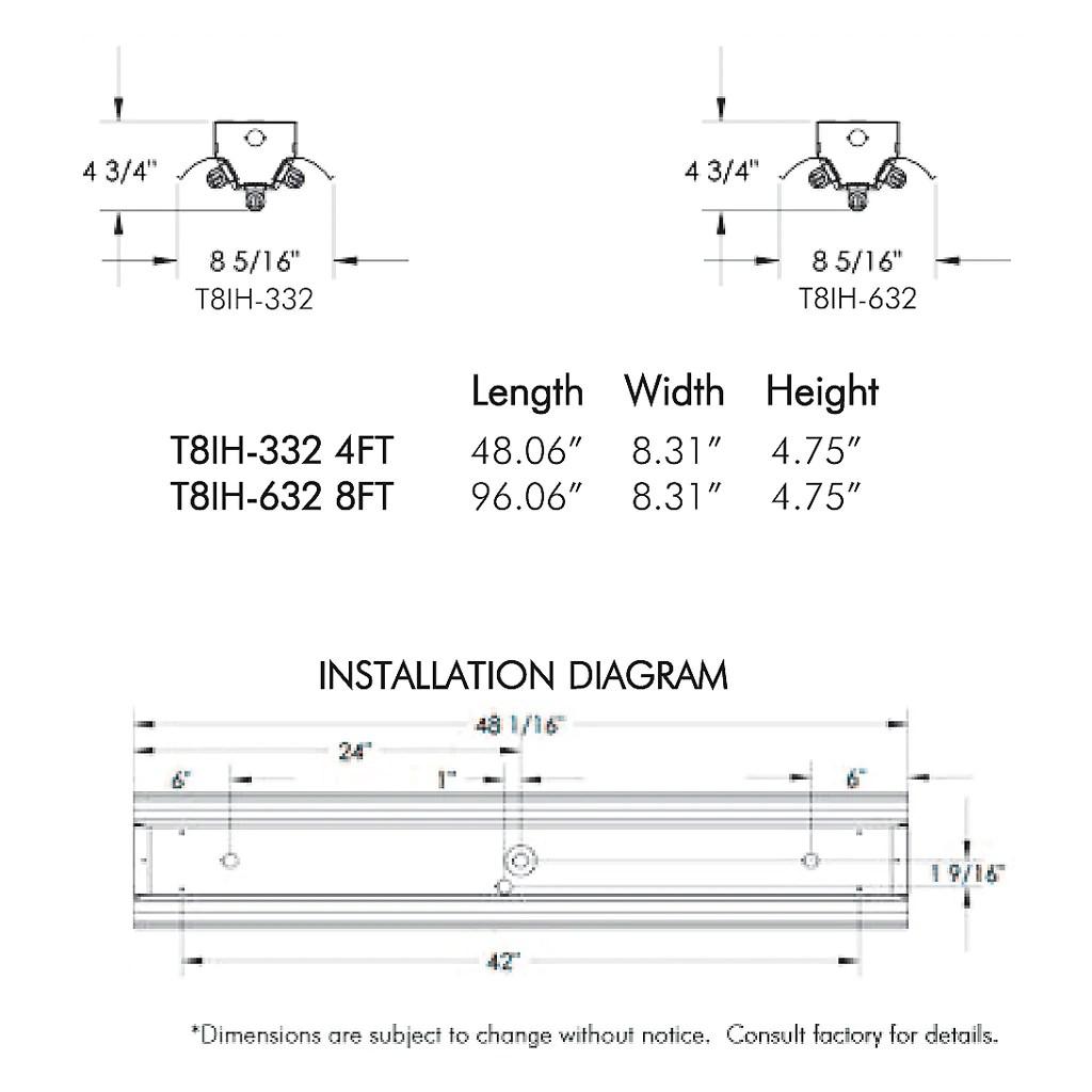medium resolution of t8 fluorescent t8ih 3 6 lamp 4 8 foot high bay fixture