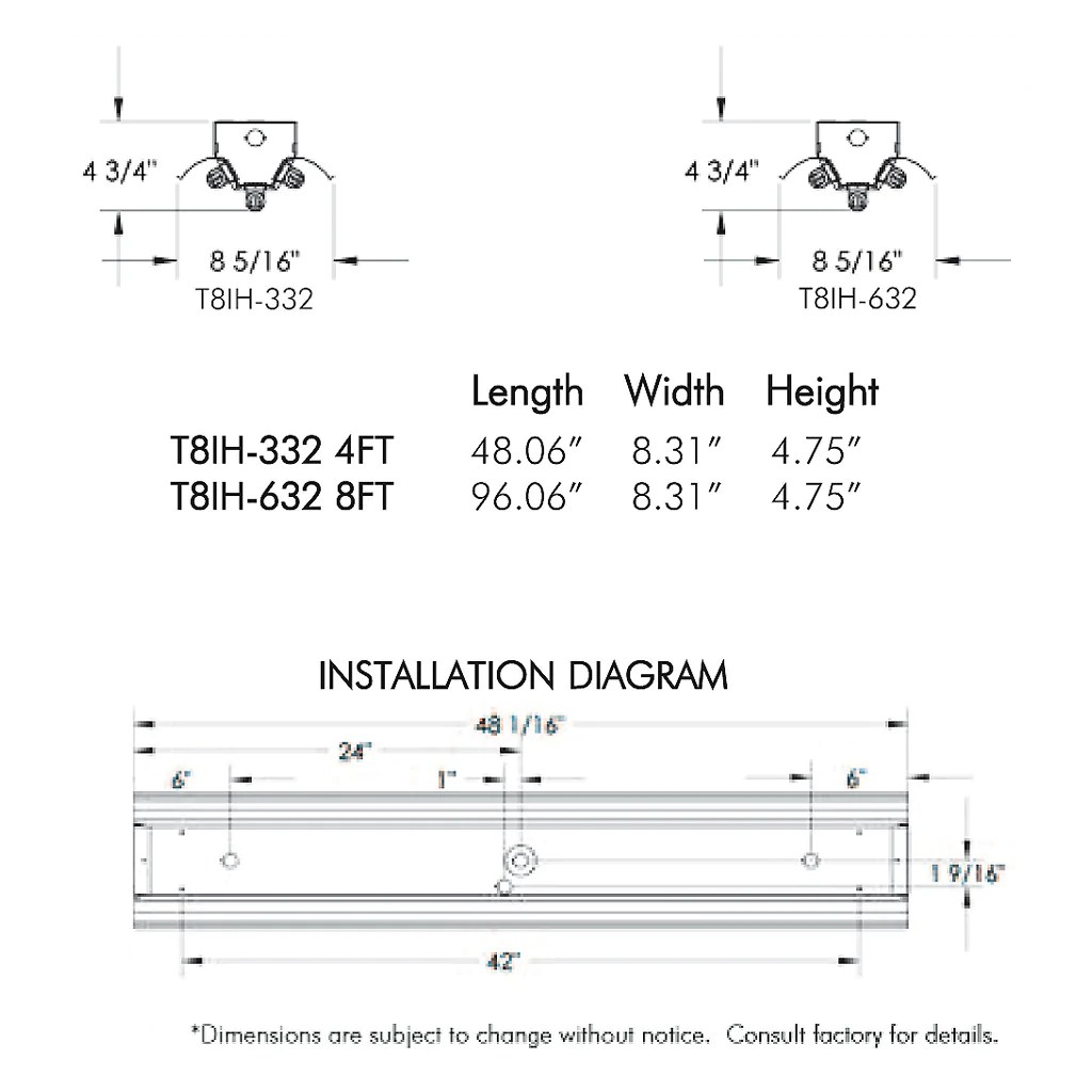 small resolution of t8 fluorescent t8ih 3 6 lamp 4 8 foot high bay fixture