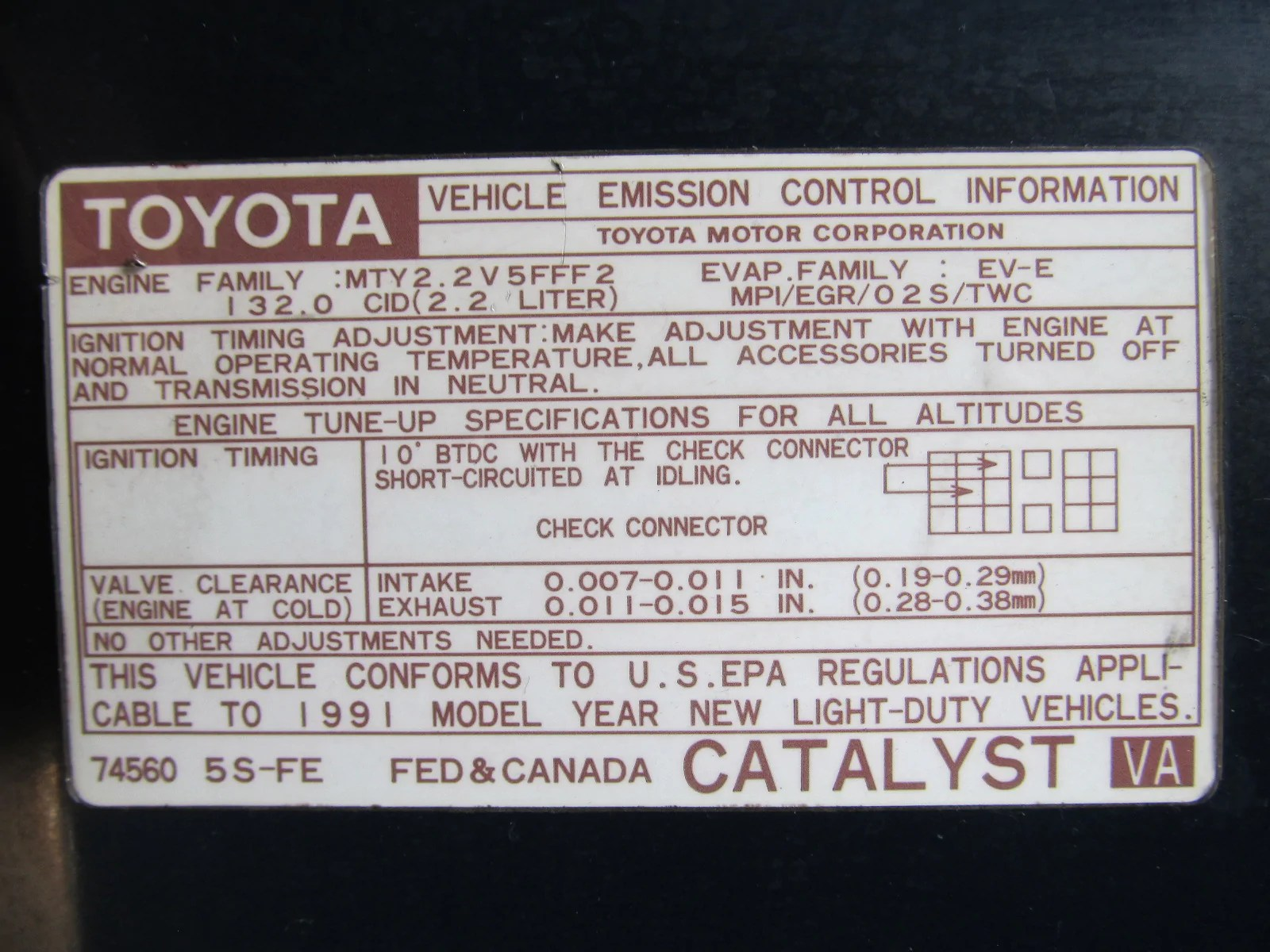 medium resolution of 91 mr2 2 2l 5sfe at vehicle emission control information diagram