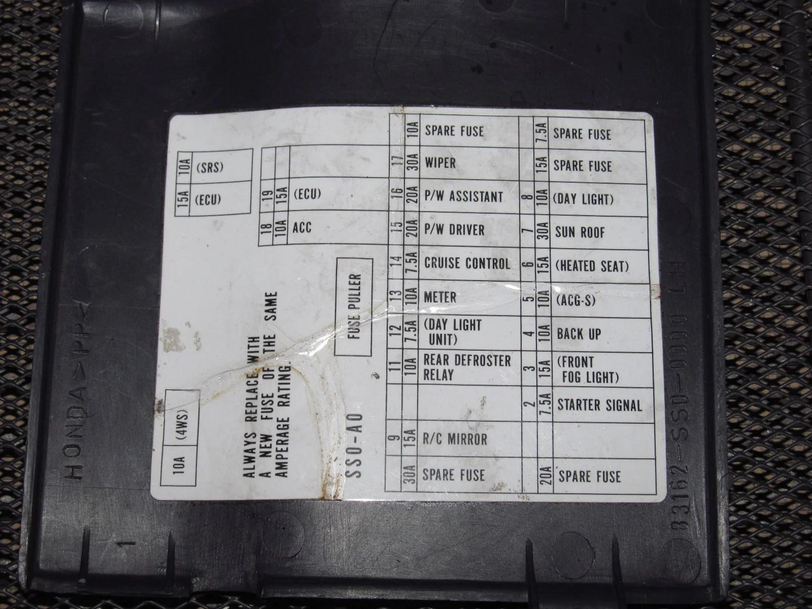 92 93 94 95 96 honda prelude oem interior fuse box cover [ 1600 x 1200 Pixel ]