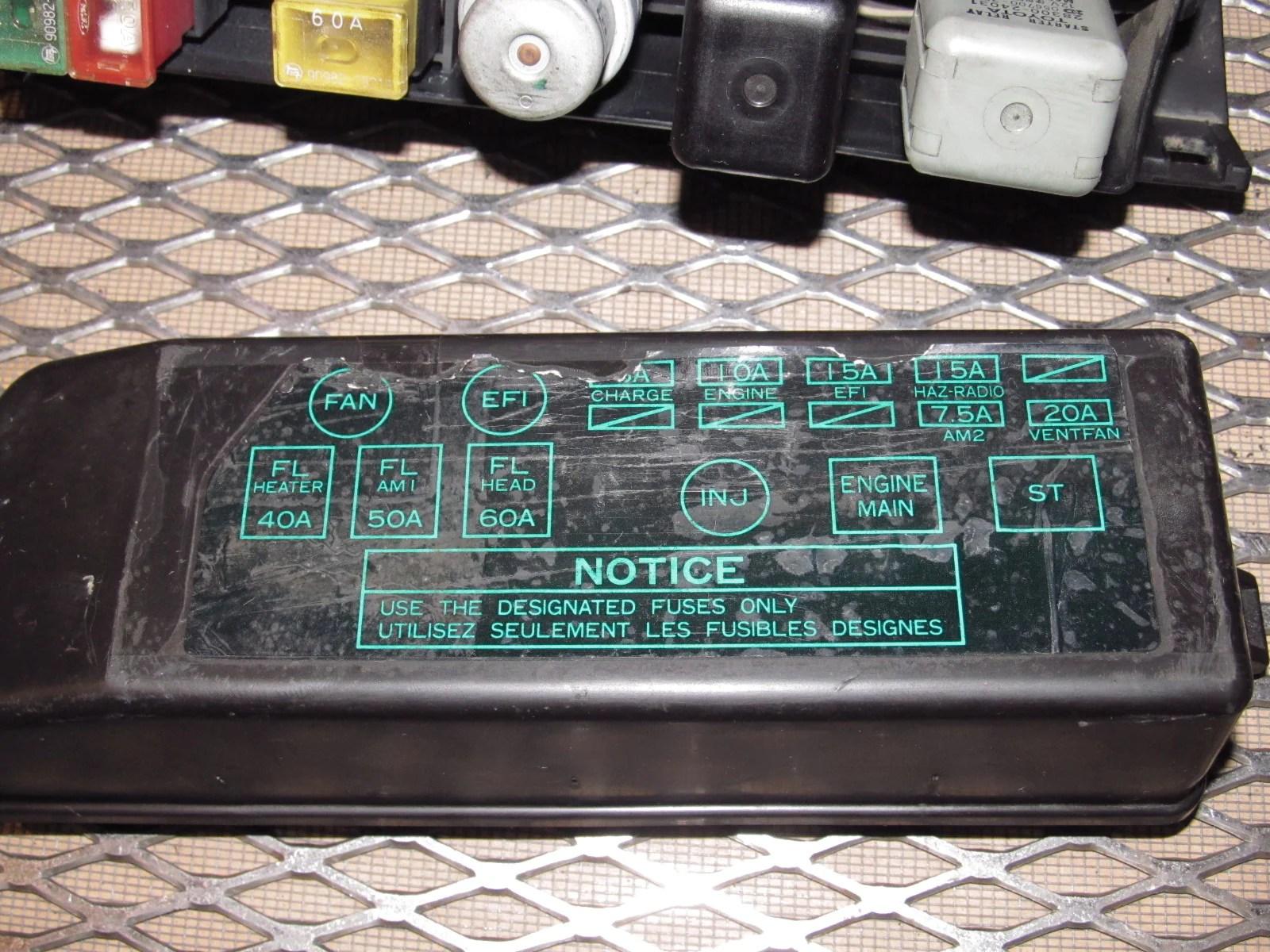 hight resolution of  87 88 89 toyota mr2 oem engine fuse box