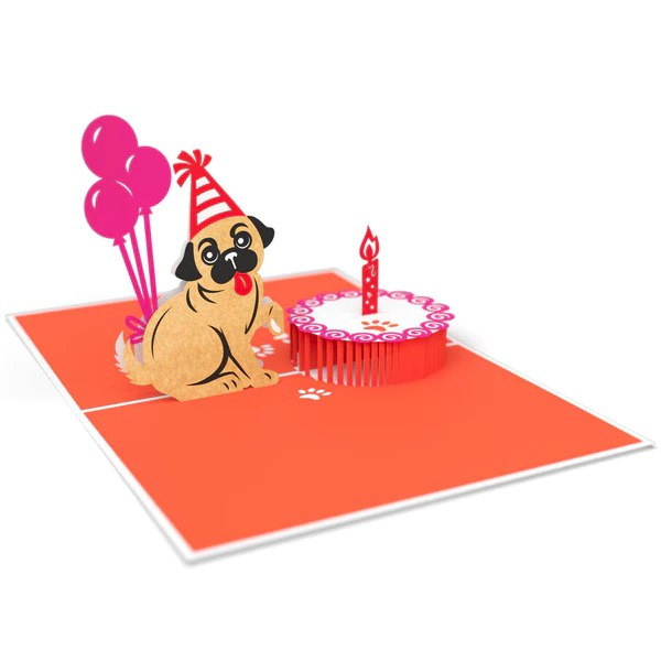 Pug Cake Smash Pop Up Birthday Card Lovepop