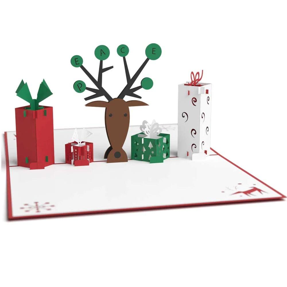 3D Reindeer With Presents Pop Up Christmas Card Lovepop