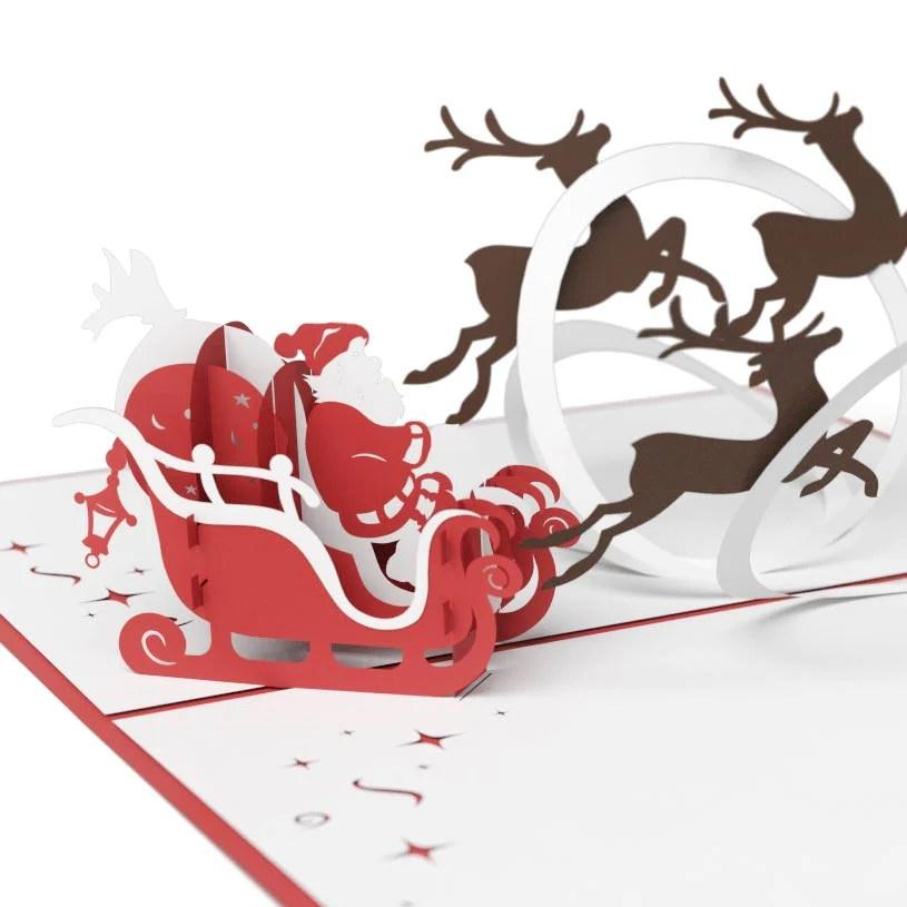 Santa Sleigh 3D Christmas Pop Up Card Lovepop