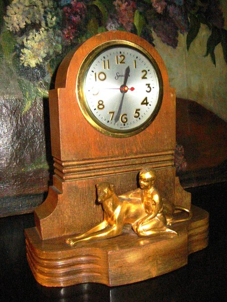 Master Crafters Sessions Mantle Clock Bronze Hound And Boy