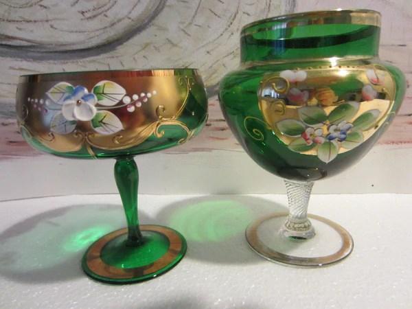 Bohemia Crystal Green Stem Bowls Gold Painted Porcelain