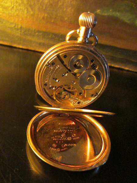 Waltham Pocket Watch Gold Plated Triple Case Hunter Moon Face  Designer Unique Finds