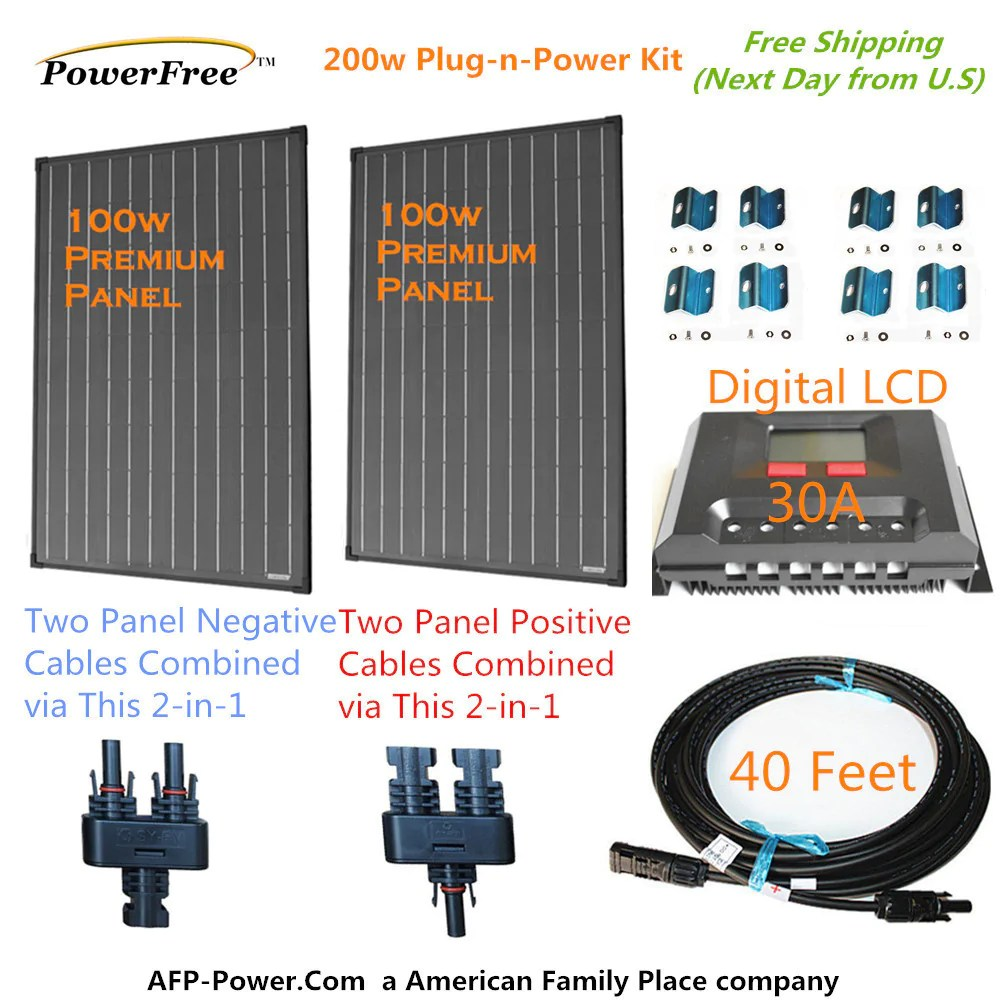 medium resolution of 200w 200 watt 2 100w solar panel plug n power space flex kit 12v
