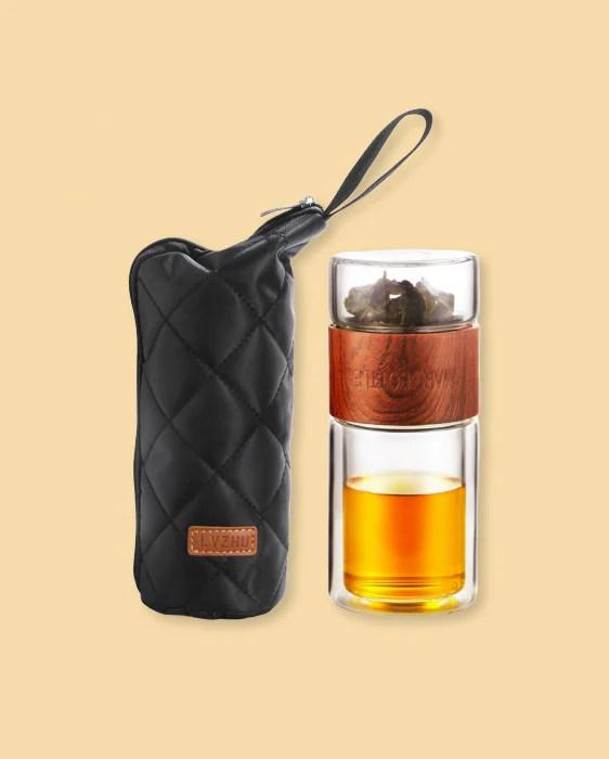 bouteille infuseur de the portable en verre a double paroi avec son etui isotherme 200ml