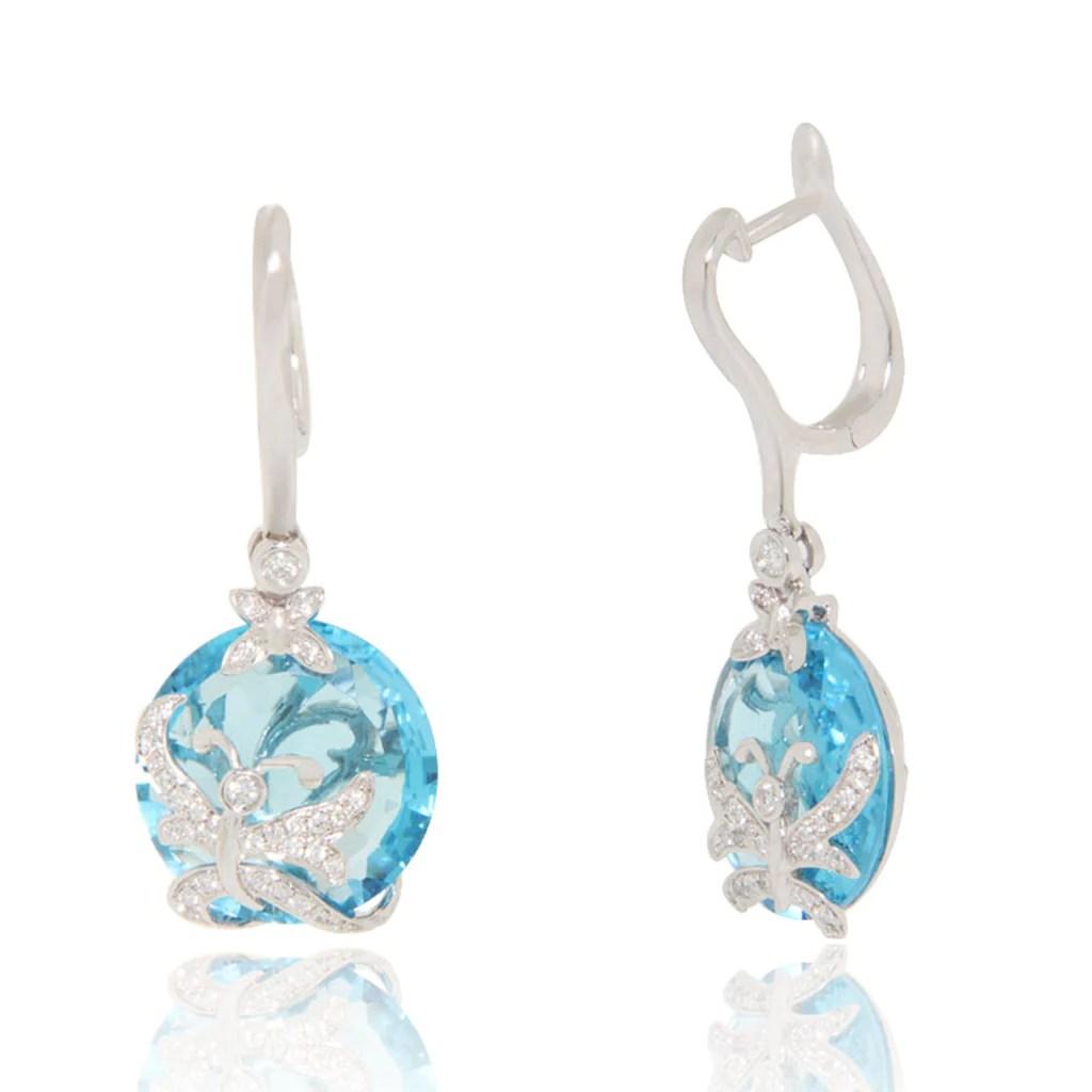 Dangling Blue Topaz and Diamond Butterfly Earrings New