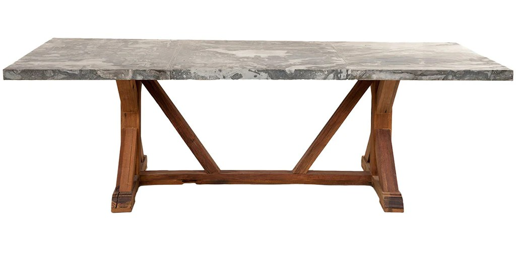 zinc kitchen table damascus steel knife top dining jaxon home