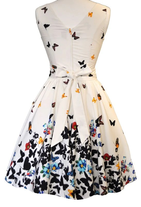 Beautiful White Butterfly Tea Dress  Lady Vintage London  In Short Supply