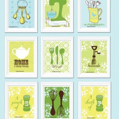 Kitchen Art Prints Open Shelves Funny Wall Decor Personalized Set Of Nine Freshline Illustration