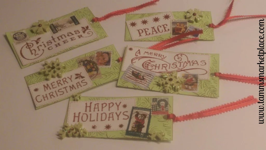Postage Themed Mixed Media Art Christmas Gift Tags With