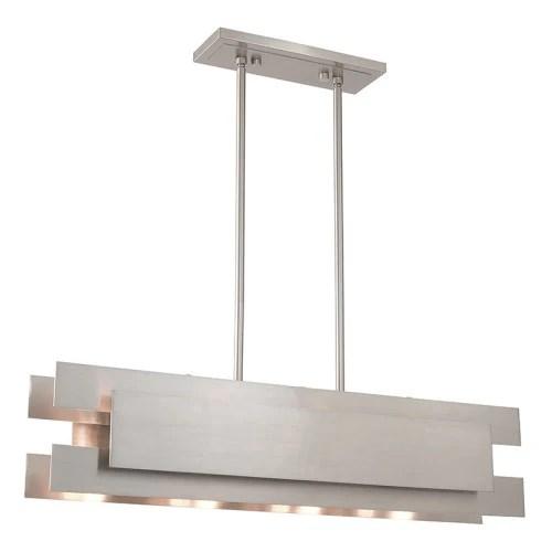 varick 4 light brushed nickel linear chandelier
