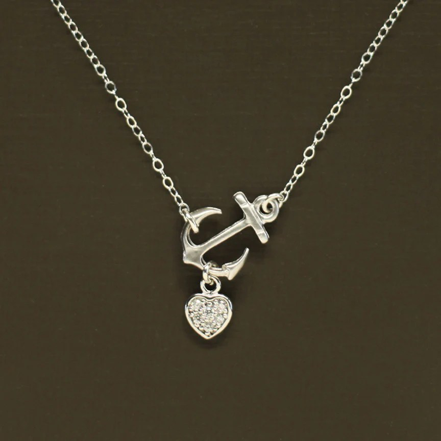 Anchor necklace with pave heart silver nina kuna