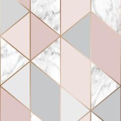 Graham & Brown Wallpaper Marble Geo Blush Pink 106503 WonderWall by Nobletts
