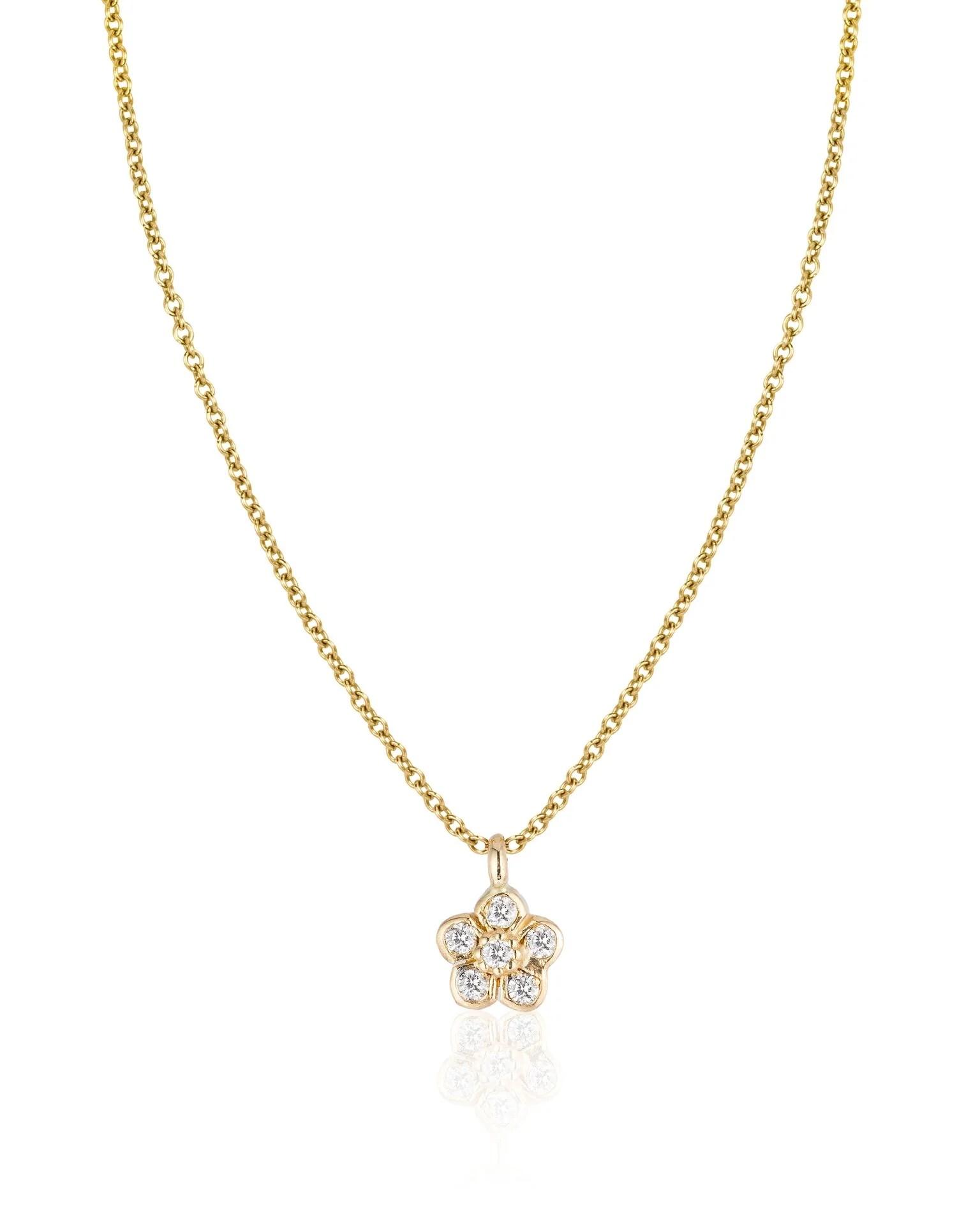small diamond flower necklace