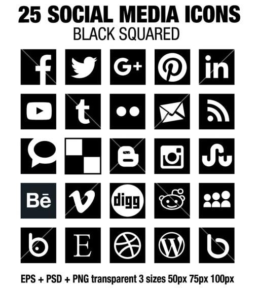 35 flat square social media icons