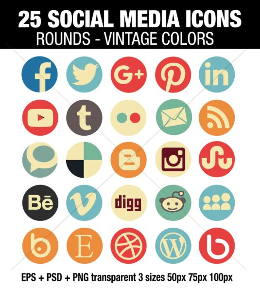 25 Round social media icons vintage color