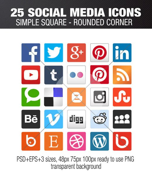 25 square icons with rounded corner