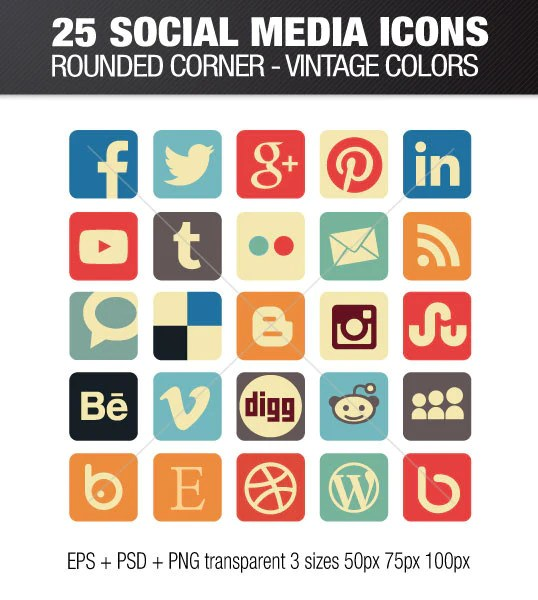 Square Social media icons rounded corners - vintage color
