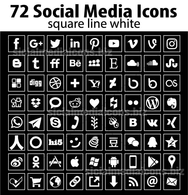 72 New Popular Line Square Social Media Icons Collection