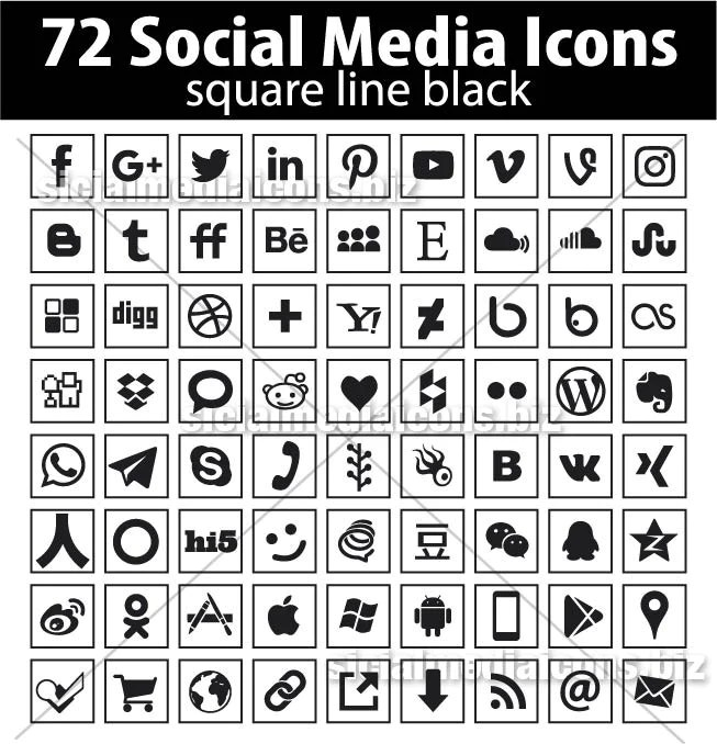 72 New Popular Black Line Square Social Media Icons Collection