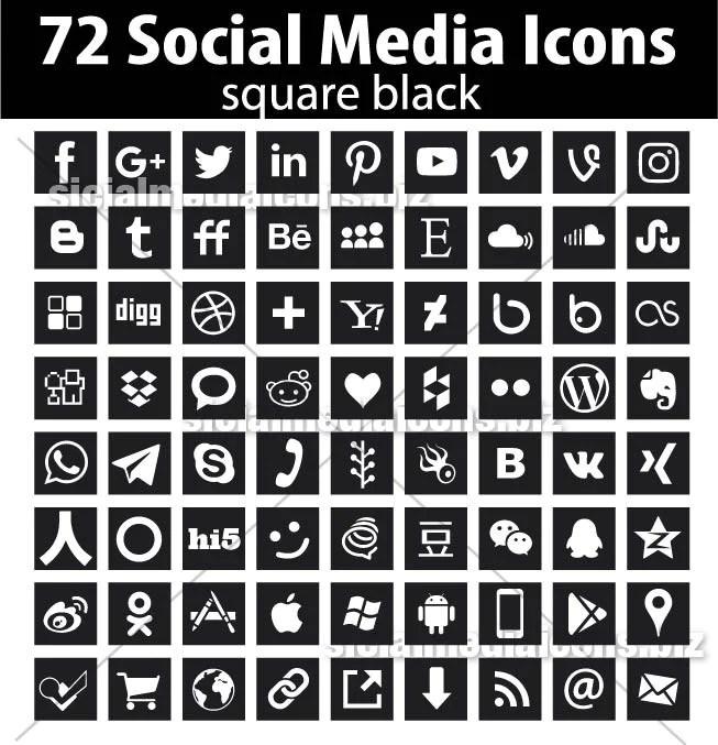 Square Black Social Media Icons
