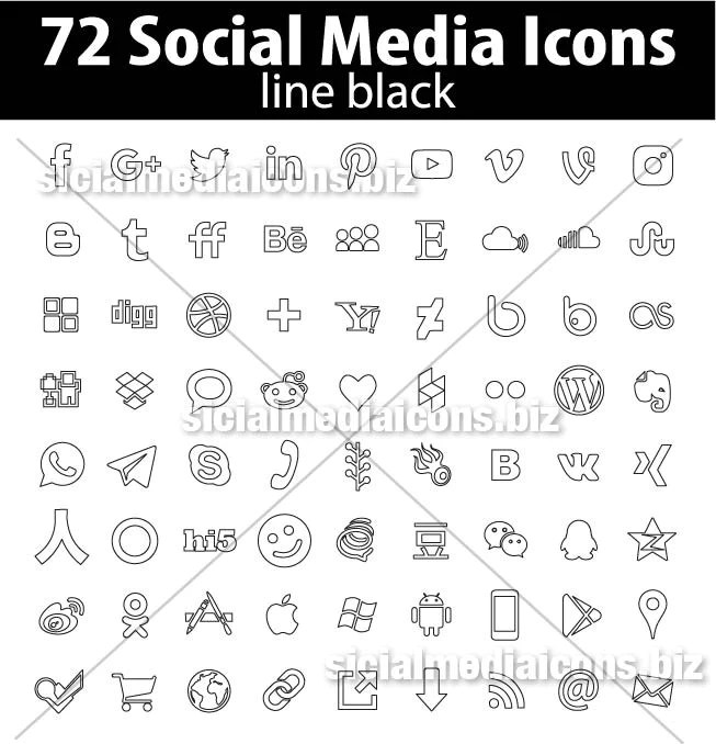 72 New Popular Black Line Social Media Icons Collection