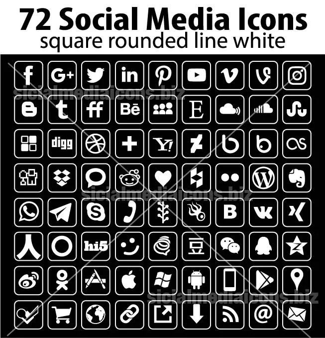 White Line Rounded Square Social Media Icons