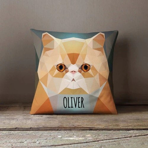 personalized cat throw pillow