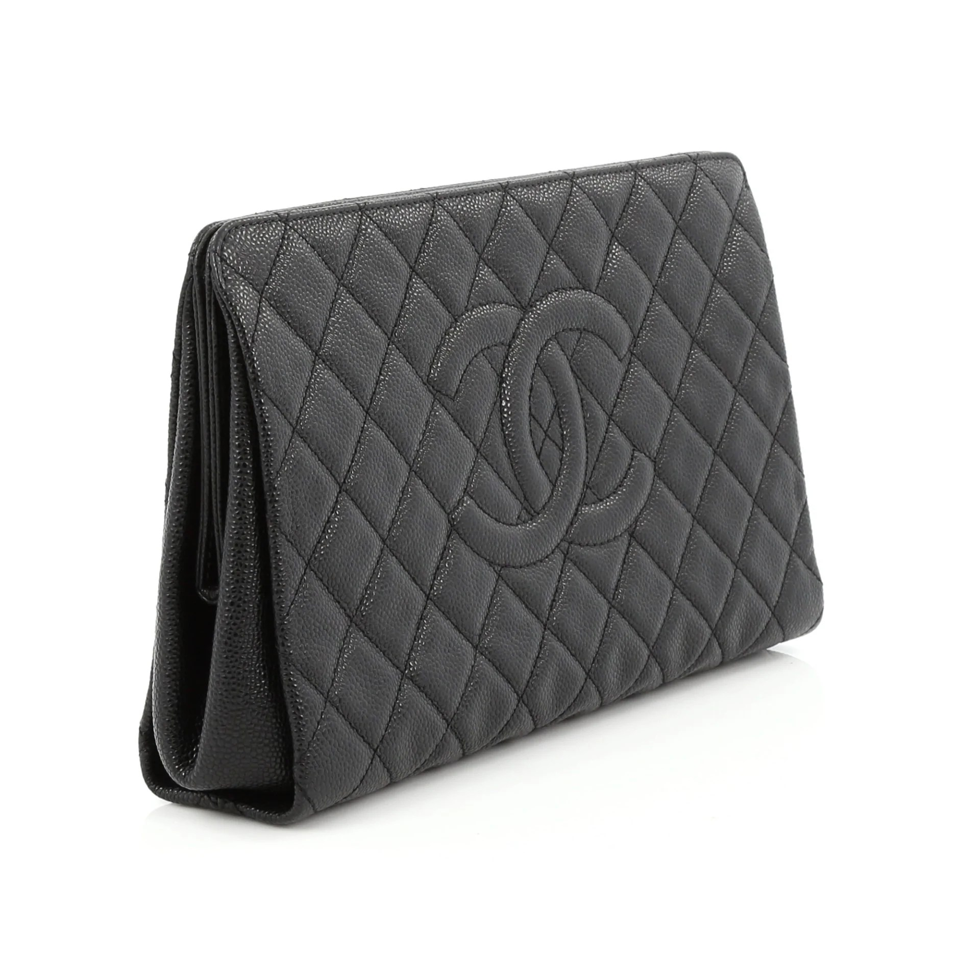 Chanel Timeless Cc Clutch Quilted Caviar Large Black