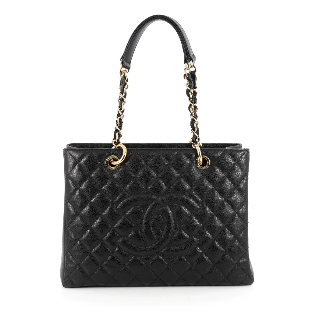 Buy Chanel Grand Shopping Tote Quilted Caviar Black 1866102 – Trendlee
