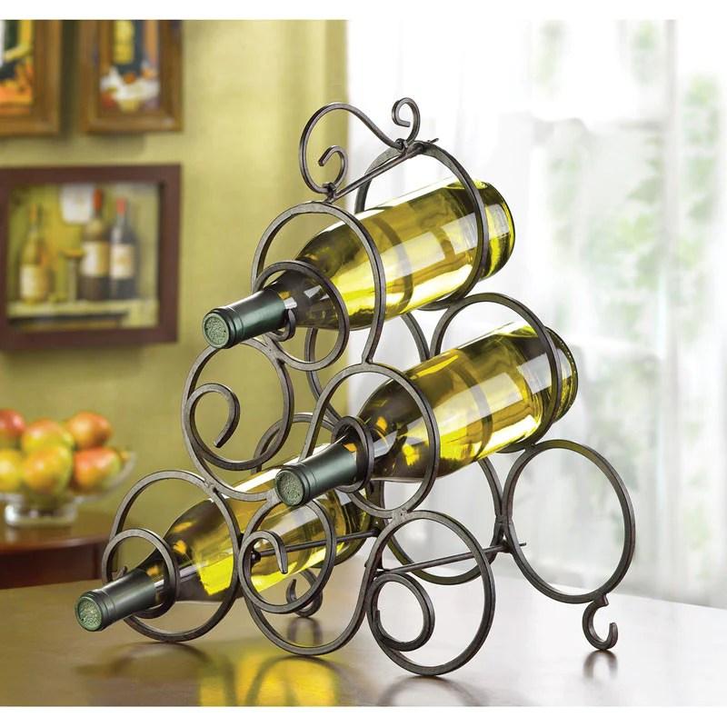 swirls wrought iron wine rack