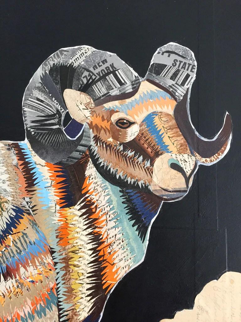 Big Horn Sheep II Paper Collage Art Dolan Geiman