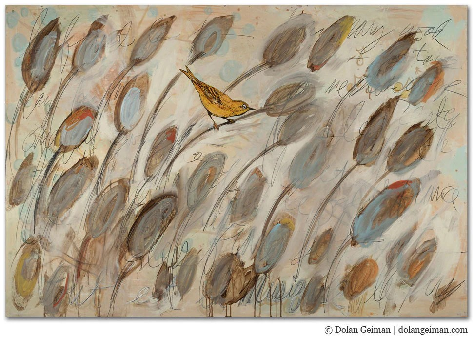 In the Cattails Neutral Bird Painting  Dolan Geiman