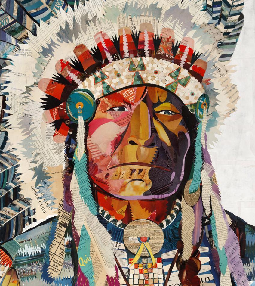 American Heritage Chief Paper Collage Art  Dolan Geiman