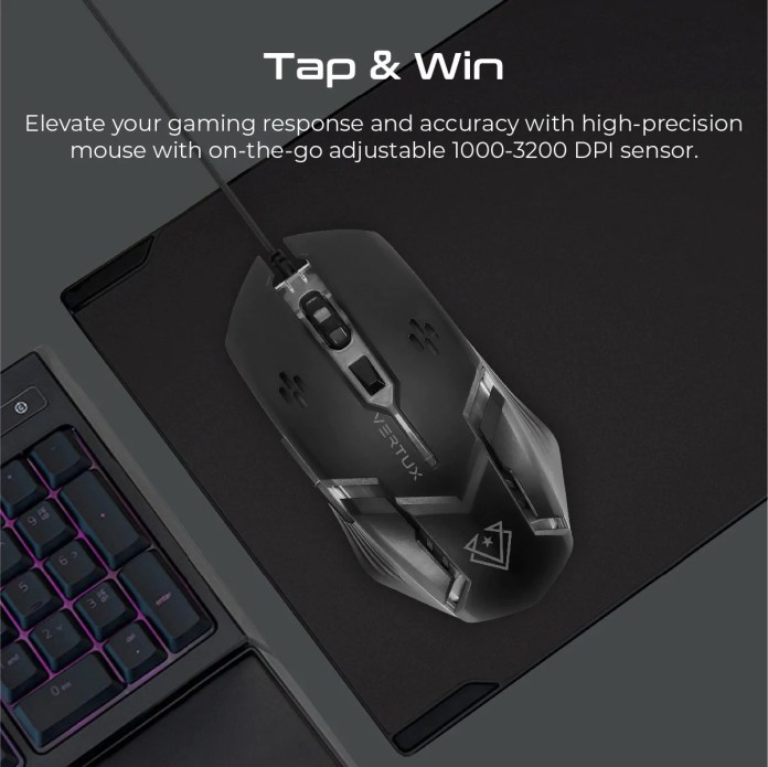 Vertux Orion Gaming Keyboard Mouse Combo Ergonomic Wired Dna