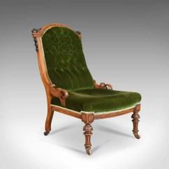 Chair Design Back Angle Slip Cover Antique Scottish Oak Button Nursing Salon