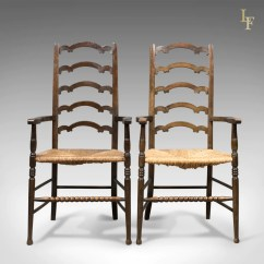 Antique Ladder Back Chairs Uk Chair Stool Wood Pair Of Wavy Line Ladderback Elbow