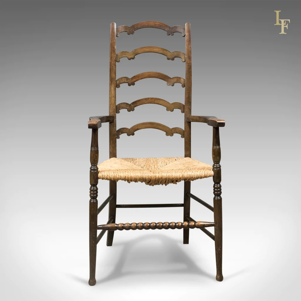 antique ladder back chairs uk swing chair frame pair of wavy line ladderback elbow