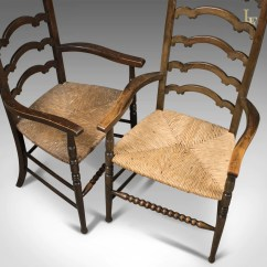 Antique Ladder Back Chairs Uk Oxo Seedling High Chair Replacement Cushion Pair Of Wavy Line Ladderback Elbow